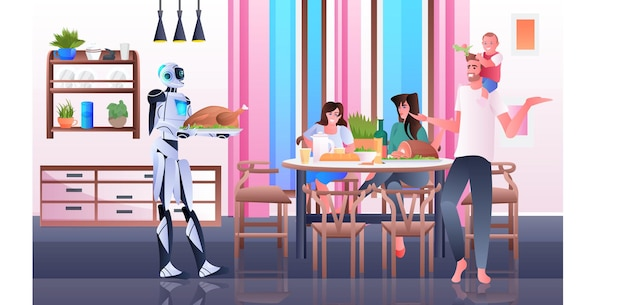 Robot housewife cooking and serving meals to family artificial intelligence technology concept modern kitchen interior horizontal full length