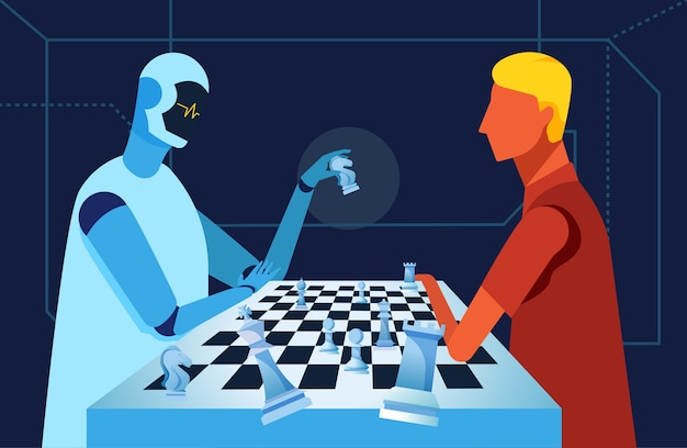Robot and human are playing chess
