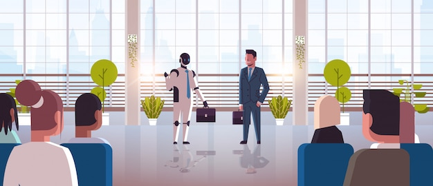 Robot and human businessmen discussing during conference meeting with businesspeople robotic character vs man standing together artificial intelligence technology concept full length horizontal