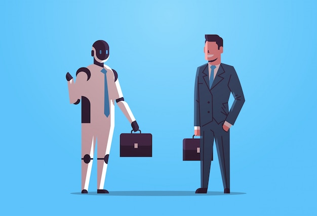 Robot and human businessmen holding briefcases robotic character vs man businesspeople standing together business artificial intelligence technology concept flat full length horizontal