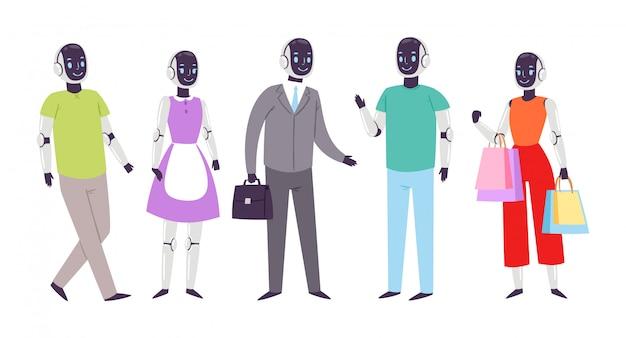 Robot humanoid people vector futuristic robotic cartoon characters cybernetic cyber life