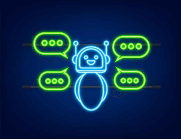 Robot icon bot sign design neon icon chatbot symbol concept voice support service bot