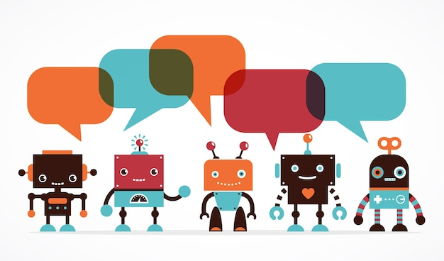 Robot icons and cute characters, with speech bubbles