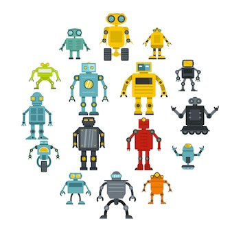 Robot icons set in flat style