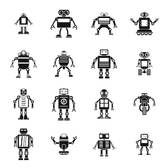 Robot icons set, simple style