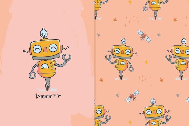 Robot illustration and pattern