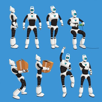 青色の背景にセットでさまざまなポーズのロボット