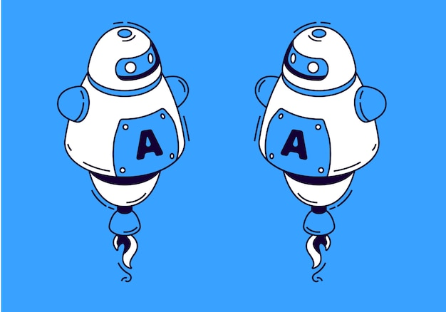 青色の背景にアイソメ図スタイルのロボット