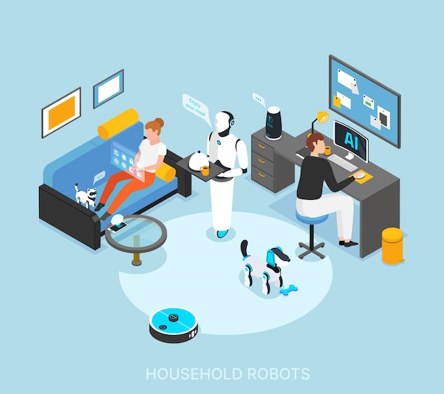 Robot integrated smart home with programmed humanoid cooking serving meals cleaning learning tasks isometric composition