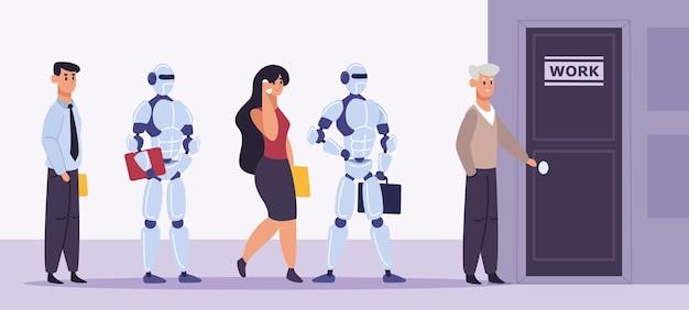 Robot interactions in flat design