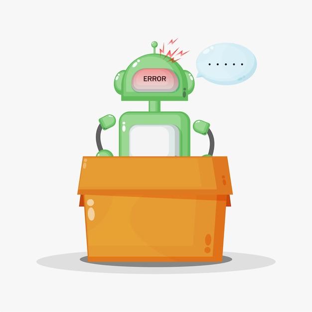 ロボットが箱の中で壊れている