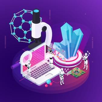 Composizione concettuale in professioni isometriche del robot con le piccole figure degli androidi e le immagini dell'illustrazione crescente di vettore della molecola dei cristalli