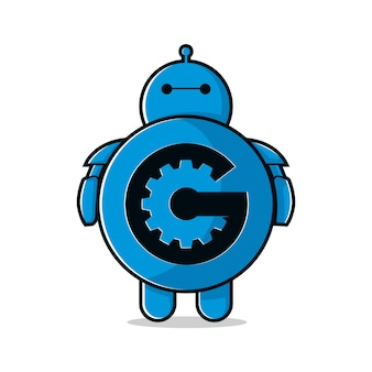 Robot letter g science logo inspiration illustration vector
