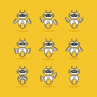 Robot logo set on yellow