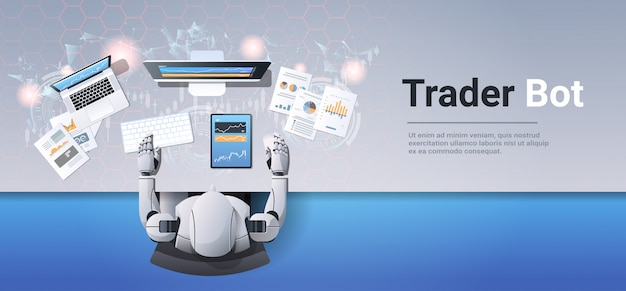 Robot looking at graphs indexes financial data on computer monitor trading stocks online trader bot