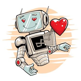 Robot in love premium illustration