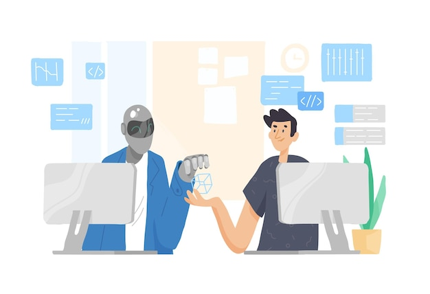 Robot and man sitting at computers and working together at office. cooperation, support and friendship between guy and android