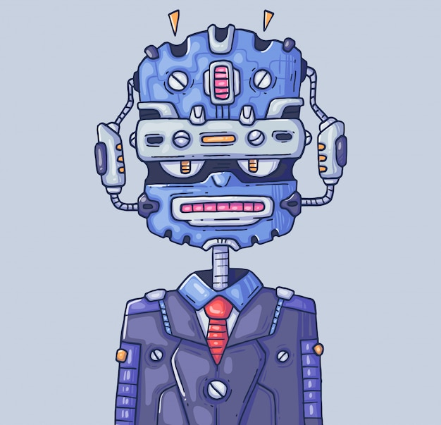 Robot manager. chatbot or robot-helper. cartoon illustration. character in the modern graphic style.