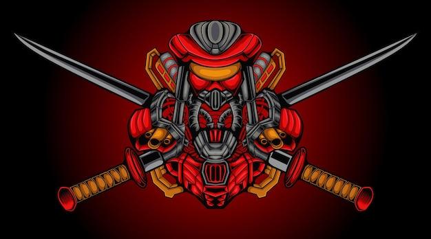 バッジのモダンなイラストコンセプトスタイルのロボットマスコットデザインベクトル。 eスポーツチームの剣のイラストを運ぶロボット