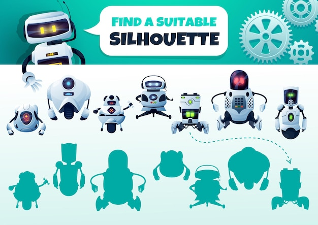 Robot maze game find a correct silhouette. kids shadow match vector riddle with cyborgs. children logic test with cartoon androids and artificial intelligence bots characters. educational baby task