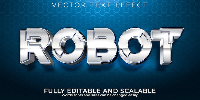 Robot metallic text effect editable tech and shine text style