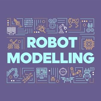 ロボットの単語概念バナーをモデリングします。人工知能、スマート産業、エレクトロニクス。プレゼンテーション、ウェブサイト。線形アイコンとタイポグラフィのアイデアを分離しました。概要図