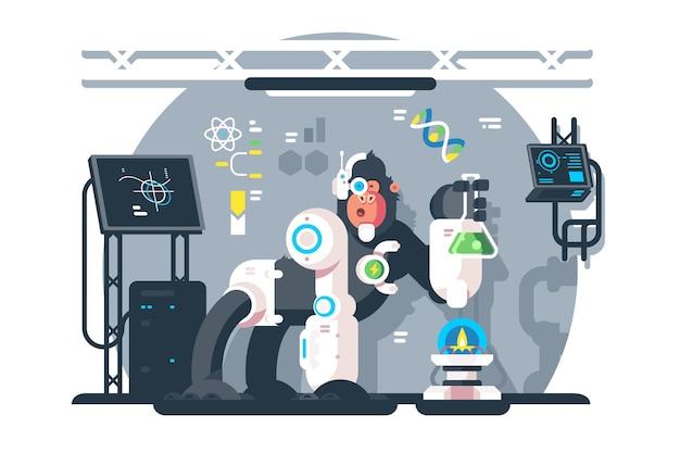 ロボット猿の科学者が実験室で実験を行うフラットベクトルイラスト