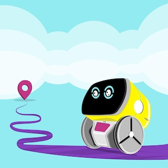 Robot navigator helps to find way. vector illustration.