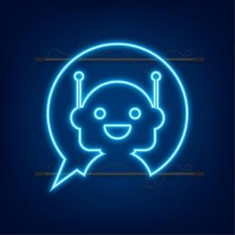 Robot neon icon bot sign design chatbot symbol concept voice support service bot