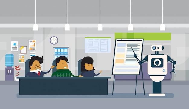 Робот офисный работник проводит презентацию или финансовый отчет для группы азиатских бизнесменов сидя