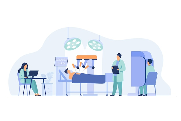 患者を操作するロボット。ロボットアームを監視する外科医が手術室で働く