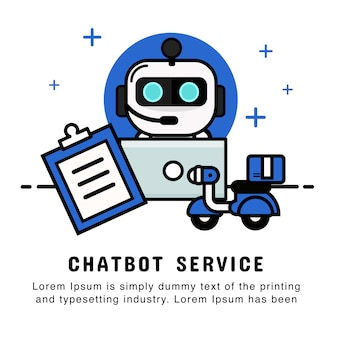 Robot operator online shopping with order and delivery service. chatbot