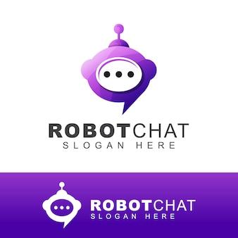 ロボットまたはボットチャットのロゴ。現代の会話自動技術のロゴデザイン