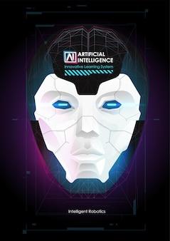 ロボットまたは人間の頭の強化。機械学習とサイバーマインド支配の概念。 ai with digital faceは、ビッグデータの処理、分析情報を学習しています。