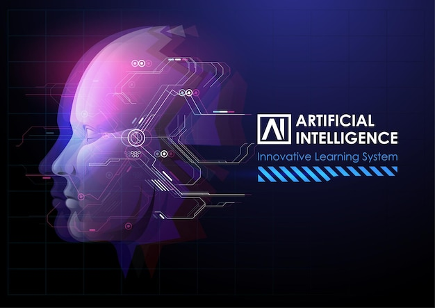 로봇 또는 인간의 머리 향상.