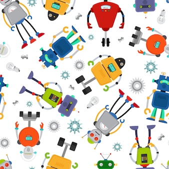 Robot pattern with cute colorful robots on white