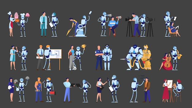 Robot and people on different job set. business and culinary occupation. futuristic technology, robotic industry.   illustration