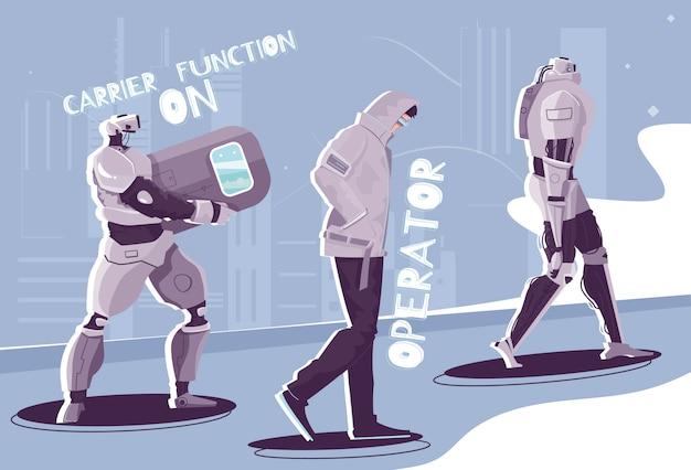 Плоская композиция роботов-людей с персонажами ходячих андроидов с редактируемыми текстовыми подписями