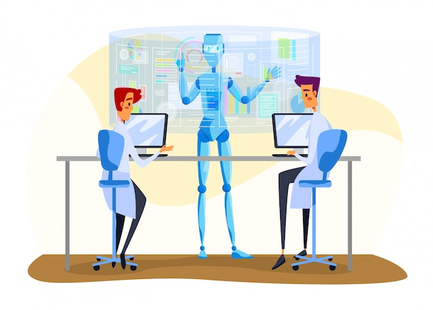 Robot and people  illustration, cartoon  machine working together with scientist characters to analyze data  on white