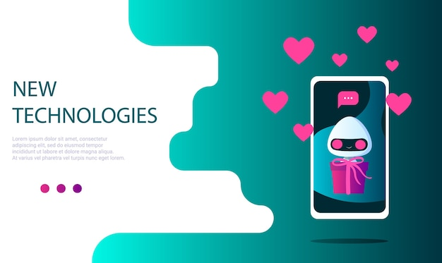 A robot on the phone screen with a gift in hand and a message notification, with hearts and likes. gift delivery. landing page template