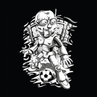 Robot play football black and white illustration