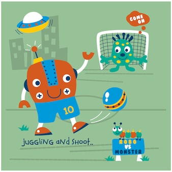 Robot playing soccer funny cartoon