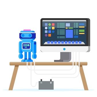 Robot programming flat illustration
