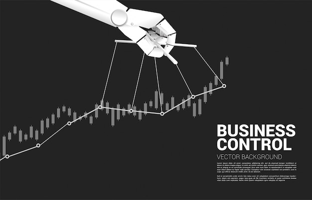 Robot puppet master controlling business growing graph. concept of age of a.i. manipulation .