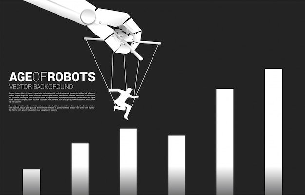 Робот хозяин марионеток, контролирующий силуэт бизнесмена, чтобы перейти на более высокую диаграмму. понятие о возрасте манипуляций. человек против машины.