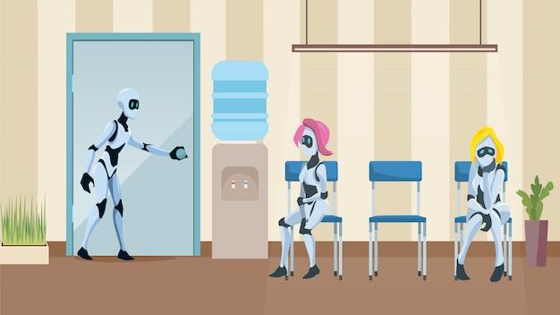 Robot queue in office corridor wait job interview