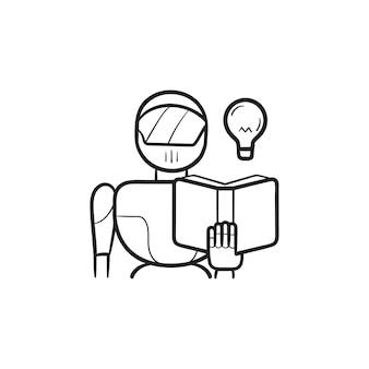 로봇 읽기 책, 전구 손으로 그린 개요 낙서 아이콘. 인공 지능, 기계 학습 개념. 인쇄, 웹, 모바일 및 흰색 배경에 인포 그래픽에 대한 벡터 스케치 그림.