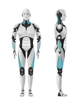 Robot realistic 3d composition with set of front and side views of masculine droid
