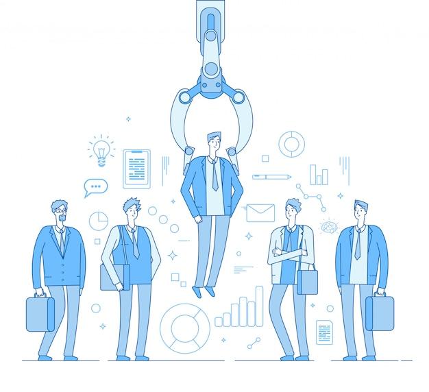 로봇 모집 자. 사람들이 선택한 그룹에서 남자를 선택 산업 발톱.