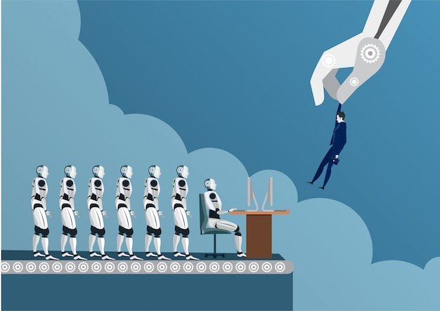 Robot recruiter with industrial claw choosing man and select human recruit illustration